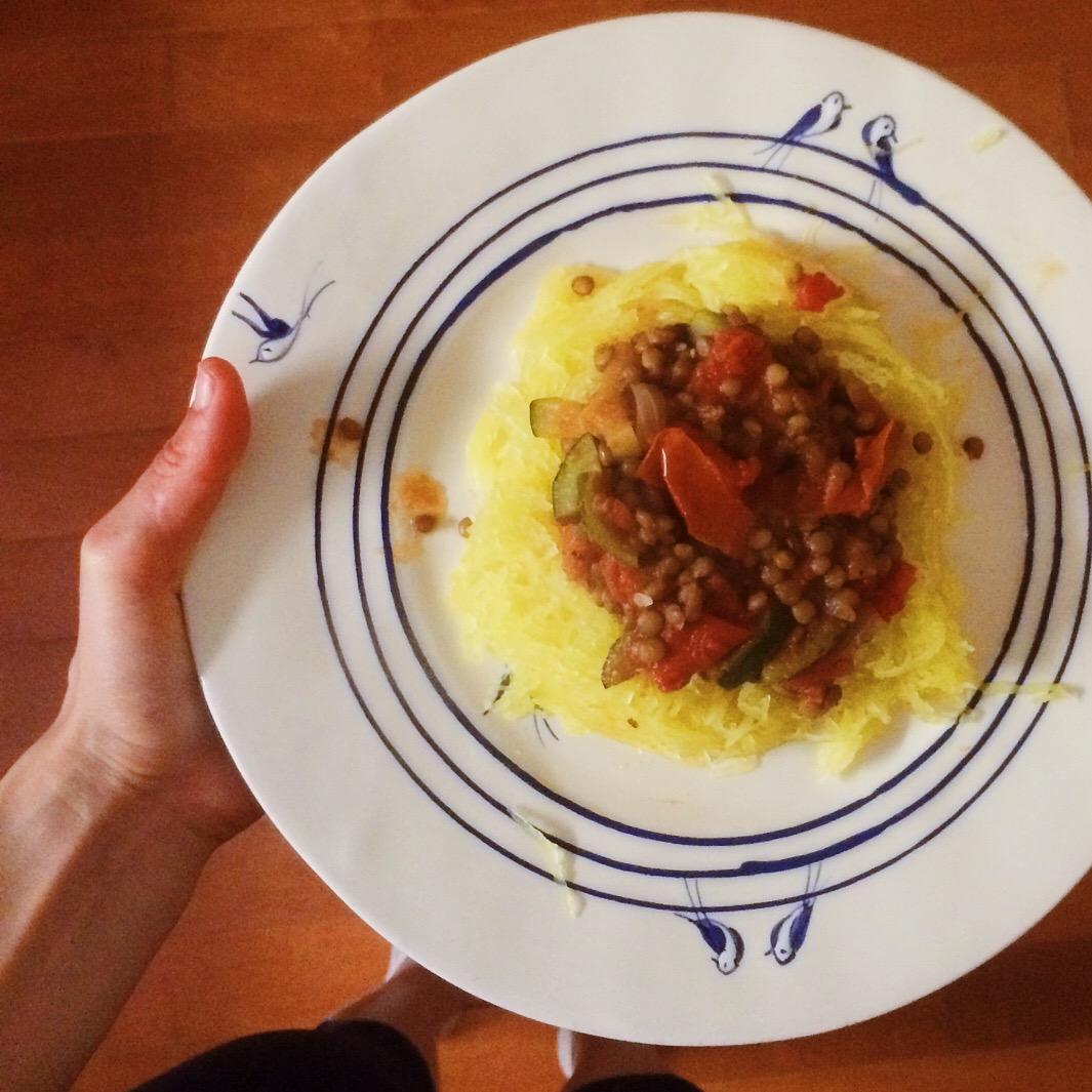 spaghetti squash with lentil ragu