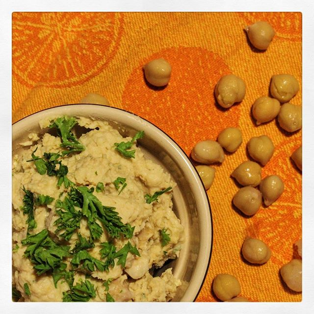 Simple homemade hummus recipe photo